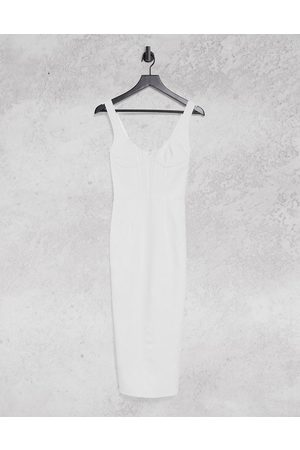 Bardot Ženy Přiléhavé - Bodycon corset midi dress in ivory-White
